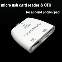 2pcs Micro USB Smart Card Reader & OTG for Samsung for Sony for Xiaomi M2s for andriod pad Support SD MS TF M2 Memory Card