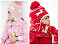 Hot Selling 2014 Winter Sweet Girls Boys Hats Children's Hat Deer Velvet Earlap Caps Babies Sets Christmas Beanie  H39