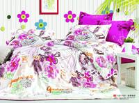 Good quality & Promotion ! 100% Cotton fashion Purple FLower print 4pcs bedding sets