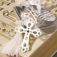 Free shipping vintage stainless steel Cross Bookmark Wedding Favors and baptism favors 50pcs/lot wholesale