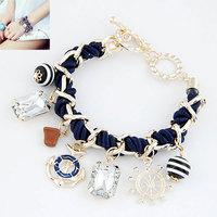 FREE SHIPPING 2014 Korean Fashion Wheel Stone Anchors Pendant Braided Rope Bracelet  5 Colors Bracelet Bangle For Women Jewelry