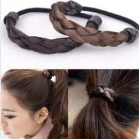 Min.order is $10(mix order)Free New Korea Jewelry Wig Braids Elastic Hairband 2pcs/lot