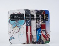 Leather PU Flip Smart Battery Case Cover With Window For Samsung Galaxy S IV S4 Mini i9190