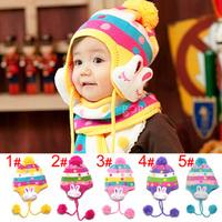 Hot 2014 Spring Winter Warm Baby Lovely Rabbit Hat Fashion Kid's Ear Pretect Animal Hat Children Cap For Winter H40