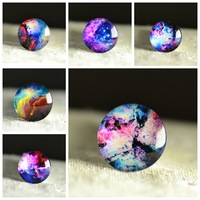 Fashion 10pcs 20mm Charm colorful Galaxy Pattern Round Glass Dome Cabochon Flat Back Embellishments for fashion Jewelry