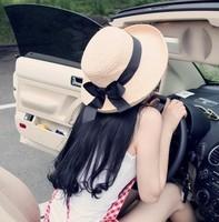 Summer Korean style new women's  straw Hat Fashion ribbon bow Sun hat wholesale Price R45 Free Shipping