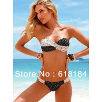 Best selling products 2014 new arrive summer push up bikini set for women sexy two piece Vintage Polka Dot swimsuit