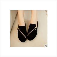 new 2014 women genuine leather shoes woman women flats Korean version of the retro zipper Shih Tzu velvet Simplicity 1-7