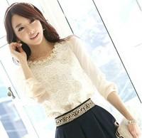 Spring Autumn Women Long Sleeve Chiffon Solid Color Shirt Slim Lace Shirt OL Blouses