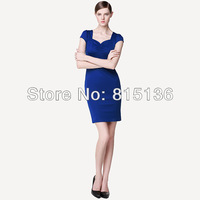 New England Spring OL commuter temperament retro dress square neck tight package hip skirt short-sleeved dress