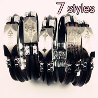 Wholesale 7 Styles Stainless Steel Punk Men Rubber Bracelet Men's Jewelry Free Shipping 12pcs/lot
