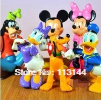 Free shipping 6pcs/set mickey,minnie,goofy,pluto,Donald Duck,daisy action figure toys gift toys for kids