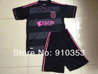 Free Shipping ! wholesales 13-14 season Ajax away black  soccer jerseys soccer uniforms kits football suit