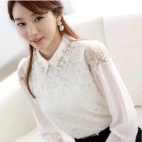 Spring Autumn Women's Lace Full Sleeve Casual Chiffon Basic Shirt OL Office Lady Blouse