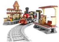 Ausini Building Blocks Train Railway Station Steam Locomotive BricksToys for Children Assembling Blocks Model Building Gift