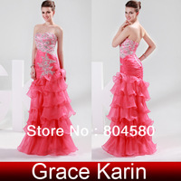 Brilliant!Free Shipping Grace Karin Stock Strapless Organza women Evening Prom party Gown Long Mermaid Dresses CL6073