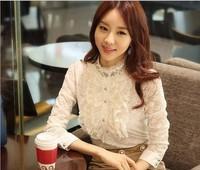 2014 Spring Women Stand Collar Lace Basic Shirt Long-sleeve Top Plus Size Shirt