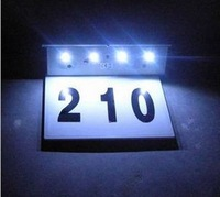 4led door plate lamp LED solar door number wall lamp Free shipping