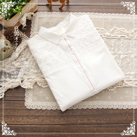 Fresh vintage hem-stitch decoration three-dimensional embroidery embossed decoration white long-sleeve shirt