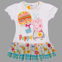 FREE SHIPPING new 2014 hot nove kids wear hot sale baby girls printed peppa pig cotton evening party dress for baby girls H4721#