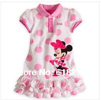 2014 New Striped  Dot Princess  Dress Cartoon Mickey Pink Girl's Dress Cotton Children Dress Free Shipping