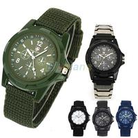 New Solider Military Army Men's Sport Style Canvas Belt Luminous Quartz Wrist Watch 4 Colors 03V3