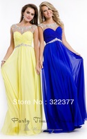 Hot Sell ! A-line Scoop Neckline Chiffon Elegant Evening Gown,Prom Gown 2014 with Sheer Beaded Top over Sweetheart Bodice