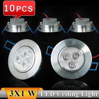 10pcs/lot 3W Epistar LED ceiling light lamp Recessed Spot AC85V~265V for home illumination Free shipping