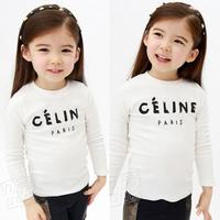 spring 2014 and autumn letter girls clothing baby child long-sleeve T-shirt tx-2715 basic shirt