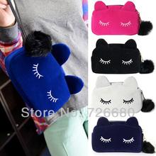 Envío gratis ! Moda pequeños de la Mujer bolso precioso franela Cartoon Embragues Cat Belleza Maquillaje bolsos de tarde lindas 128-0900(China (Mainland))