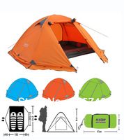 High Quality New 2 person 2014 Outdoor Camping Equipment Waterproof Windproof Double Layer Dome Aluminum pole Tent FLYTOP