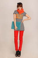 2014 new arrival,girls striped tops,max long,slim figure,top designer style,autumn-summer,vintage style,womans letter clothing