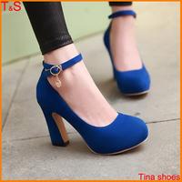 Big Size 9 10 11 12 sexy fashion chunky high heel women's pumps platform ankle strap ladies shoes 5201