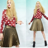 Spring 2014 Fashion Europe Lapel Long-sleeved Chiffon Shirt With Heart-shaped  Printing