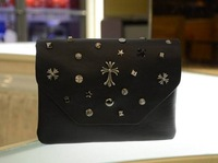 2014 womens rivet black bag messenger bags ladies shoulder bag cross body small girls mobile phone bmini bag