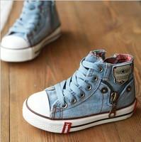 Expert skills 2014 autumn denim high child canvas shoes skateboarding child shoes free shipping .