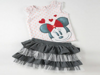 Wholesale 5pcs/lot 2014 summer fashion casual girls clothing sets cartoon minnie mouse girl clothing T-shirt+dress kids clothes