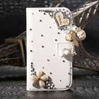 Luxury 3D Handmade I Love You Heart Flower Rhinestone Bling Diamond Crystal PU Leather Flip Case For Samsung Galaxy S4 SIV I9500