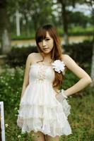 lacing gauze lace cake tube top dress high waist dress one-piece dress