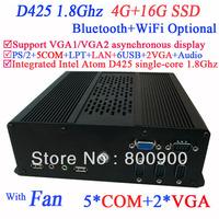 Mini-ITX PCs with 2 VGA Intel Atom D425 single-core processor 1.8Ghz 4G RAM 16G SSD with 5 COM Ports and Wifi Bluetooth Optional