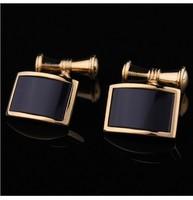 French Shirt Cuffs Black Onyx Cufflinks Chain Men Jewelry Unique Wedding Groom Men Cuff Links Business Gold Cufflinks For Mens