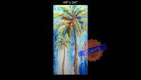 "Large 48"" x 24"" Palm Tree Textured Painting Modern Custom Beach Decor Ocean Decor Palette Knife Thick Impasto Palm Tree Painting"