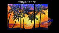 "48"" x 72""  Palm Tree Painting Modern Large Custom Beach Decor Ocean Decor Palette Knife Thick Impasto Palm Tree Painting"