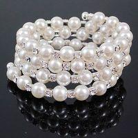 4 Rows Crystal Beads Bangle Rhinestone Bangle Multilayer Bracelet Free Shipping A155 6pcs/lot