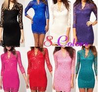 10 Colours Sex Women Ladies V-neck Mini Slim Lace Dress Party Clubwear 3/4 Sleeve evening elegant Mini Lace Dress for women
