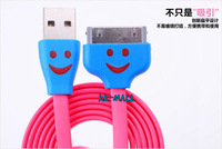 Free shipping+ Smile face Usb cable for iphone 4 4s Flat noodle cable line with LED light for iphone 4 4s+highly quality