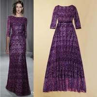 New Arrival 2014 Luxury Fashion Party Long Dress Allover Shiny Sequin  Slash High Neck 3/4 Sleeve Sheath Event Dress Purple
