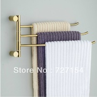 Free Shipping  Modern Bathroom Golden Brass Wall Mounted Towel Rack Holder Swivel 3 Bars Holder