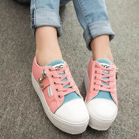 14 spring dot platform canvas shoes low platform lacing skateboarding shoes sneaker