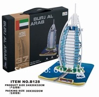 LINGLESI B128 3D paper craft Dubai Burj Al Arab Hotel DIY puzzle Burjal Arab Building model Educational Toy Free shipping gift